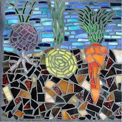 Vegetable Garden (Megan Cain Mosaics) Tags: steppingstone gardenart vegetableart mosaicsmosaicartglassart gardenmosaic