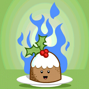 Animated Flaming Xmas Pudding