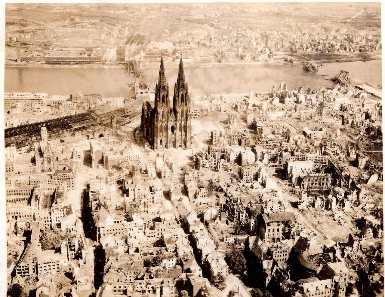 The Dom Cathedral (Kölner Dom) in Cologne, Germany WWII, May 10th, 1945.