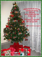 Christmas greeting card with our decorated Christmas tree in 2007