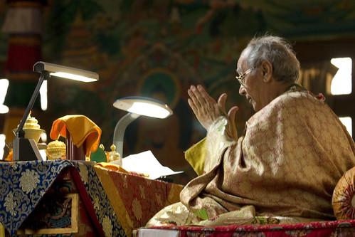 His Holiness Jigdal Dagchen Sakya, clapping, dispelling obstacles, Tharlam Monastery, Lam Dre, Bodha, Kathmandu, Nepal by Wonderlane