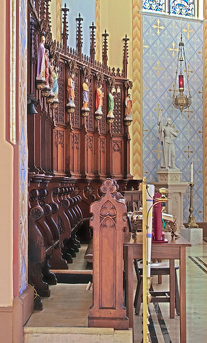 Sainte Genevieve Roman Catholic Church, in Sainte Genevieve, Missouri, USA - choir stalls