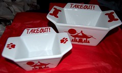 Chinese takeout dishes for the pugs!