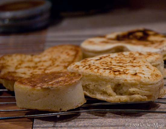 English muffins and crumpets cooling