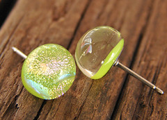 fused glass posts (Krista.Q) Tags: pink blue green glass earings gold colorful jewelry lime etsy dichroic cgge kristaskiln