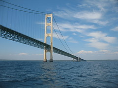 The Bridge!!! (rossmat5msu) Tags: clouds lakemichigan explore straits suspensionbridge lakehuron mackinac mackinaw cheboygan mackinawbridge mackinackbridge mackinack absolutemichigan straitsofmackinaw duncansbay