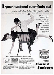 """If your husband ever finds out""... (MsBlueSky) Tags: white black coffee weird chair fifties ad marriage creepy advertisement wrong domestic 1950s violence 50s housewife spanking"
