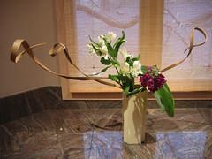 Nancy's ikebana (flashlightfish) Tags: flowers ikebana flowerarrangement sogetsu moribana nageire japaneseflowerarrangement