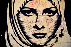 Cultism (Herschell Hershey) Tags: street new york city usa india pasteup art giant graffiti women veil tag obey hijab system fairey shepard caste cultism