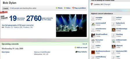 Bob Dylan Songkick page