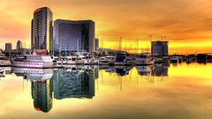 Sunrise over the San Diego marina