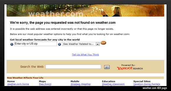 Weather.com 404 error page
