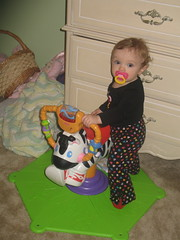 Zoe dances to the zebra's music.