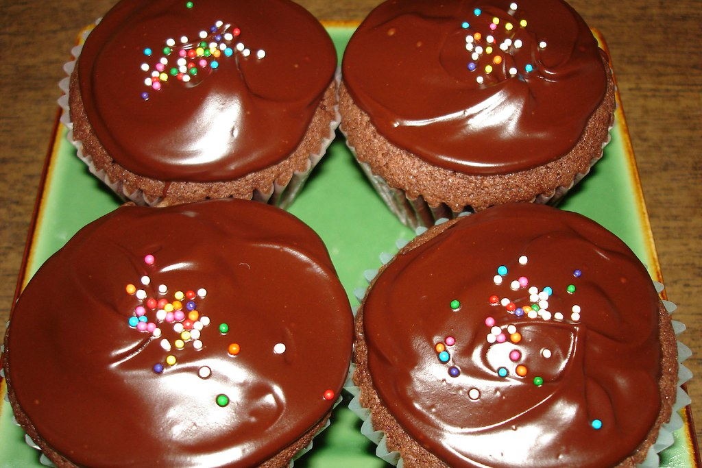 made Chocolate-Chocolate Cupcakes from Dorie Greenspan's book ...