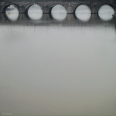 bridge (moggierocket) Tags: bridge mist reflection netherlands architecture square maastricht roman arches oldbridge 500x500 artlibre stservaasbrug winner500
