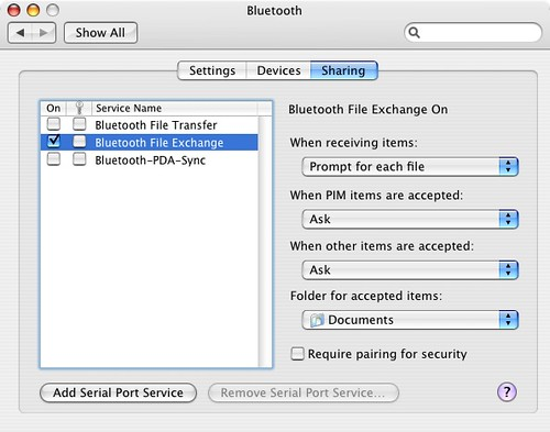 Bluetooth File Transfer Setting on Tiger