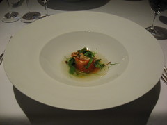 Charlie Trotter's: Tasmanian ocean trout with citrus cured salmon, louisiana crayfish and watercress