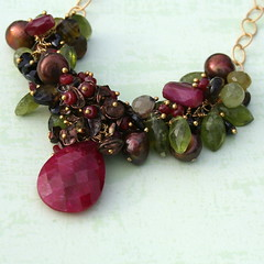 Fall Into Color - detail (brokenteepeedesigns) Tags: red brown necklace chocolate jewelry pearl ruby smokeyquartz idocrase goldfill vesuvianite keishipearl grossulargreengarnet artisanbeaders fallintocolor