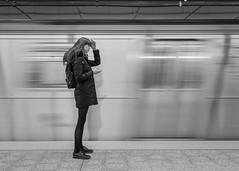 Second Avenue (John St John Photography) Tags: 2ndavsubway streetphotography candidphotography 86thststation woman youngwoman subway train qtrain moving blur slowshutterspeed blackandwhite blackwhite bw