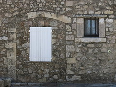White shutters, Fox-Amphoux, Var, Provence (Spencer Means) Tags: wall house architecture doorway arch stone shutters white window bars guard frame foxamphoux var provence france village dwwg