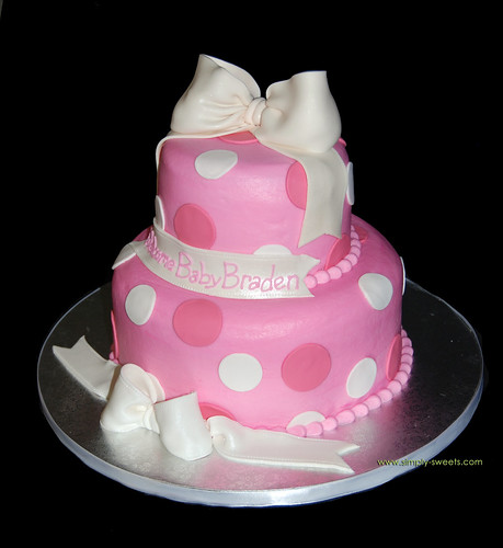 pink and white 2 tier baby shower