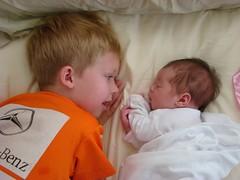 Jonas, 6; Sadie, 3 weeks