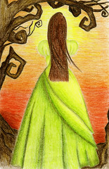 Afterglow (Maxinne Marie) Tags: trees sunset orange green yellow glow dress drawing gown swirly afterglow