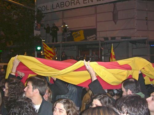 Senyera estesa a la manifestació