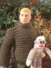 GI JOE Sock Monkey Incident (8 Skeins of Danger) Tags: christmas holiday leaves gijoe monkey sweater sock painted knit joe ornament turtleneck scar gi 8skeinsofdanger