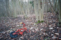 Abandoned bike in the woods (David Cowie) Tags: uk trees red england abandoned bike bicycle woods path dump hertfordshire baldock