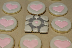 Weighted Companion Cube Cookies (mandrake68) Tags: pink cookies circle grey baking yummy cookie heart royal wcc sugar valve cube icing portal companion decorate baked weighted
