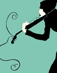 The Electric Violist (Octavine Illustration) Tags: music illustration artnouveau businesscards sxsw artdeco indierock viola commission octavineillustration carabuchalter indierockillustration