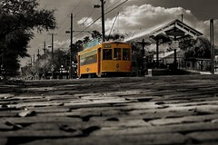 Streetcar 436, Ybor City (Pubished) (Damgaard, (TheObsessivePhotographer.com)) Tags: street old party heritage yellow electric mobile port vintage tampa interestingness publictransportation florida trolley strasse bricks transport arc tracks rail iowa tourists historic replica cobblestone explore railcar wires transportation transit hart deadman nightlife contact token streetcar ybor fare hdr 7thavenue ths teco channelside trolleystop yborcity i500 birney idagrove tecoline thechallengefactory car436 gomacotrolleycompany doubletruckbirney doorbrake tampahistoricstreetcar damgaardphotographycom wwwtheobsessivephotographercom theobsessivephotographer