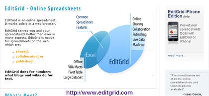 EditGrid Online Spreedsheet