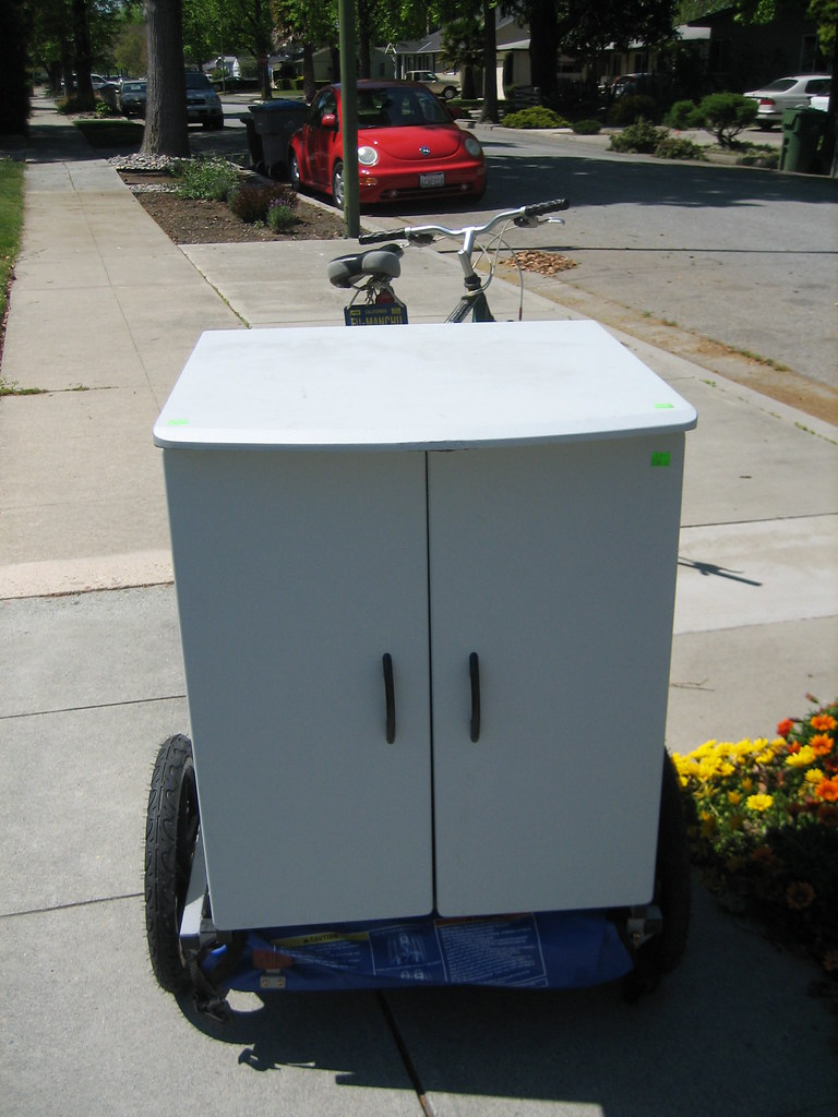 Cabinet sitting on Bike trailer