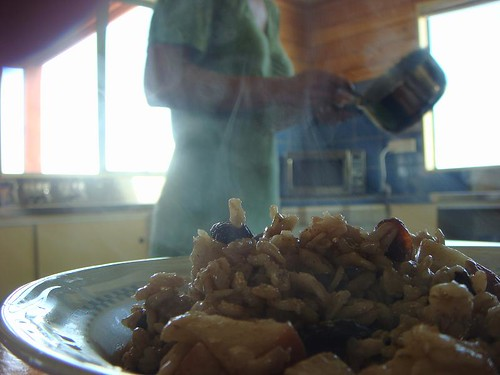 Saar preparing the yummy oat meal in Tuatapere, South Island, NZ.