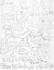 I'd sit on or against all of them! (TheGrossUncle) Tags: trees cars illustration design sketch chair furniture cartoon couch items stool footstool footrest grantgilliland thegrossuncle