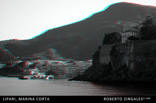 Lipari, Marina Corta - anaglyph