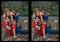 Jaken & PD in 3D (neilcreek) Tags: park blue autumn friends boy red portrait people fall girl smile leaves fun outside happy ginger 3d crosseye hug jeans lie throw lay manifest loreo pdgeorge manimeet jakencosplay
