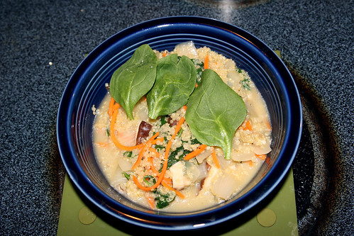 Quinoa Risotto with Spinach, Carrots, and Shiitake Mushrooms