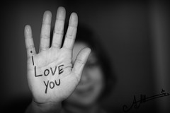 I Love You  (A.A.A) Tags: blackandwhite bw white black english canon photography hand mark iii photograph notme iloveyou language aaa amna irresistible eos1ds althani canoneos1dsmarkiii amnaaalthani dedicatedtonas