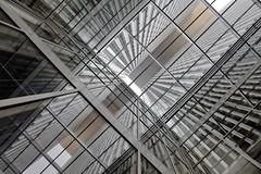 - looking up - (Jacqueline ter Haar) Tags: derotterdam architecture building reflections lookingup nolenscorrection remkoolhaas perspective duizelingwekkend
