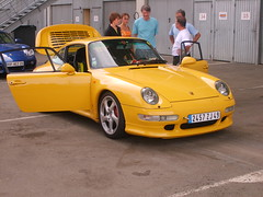 Yellow Porsche (this is nick) Tags: summer france cars car yellow race track 911 2006 racing turbo german porsche lemans 993