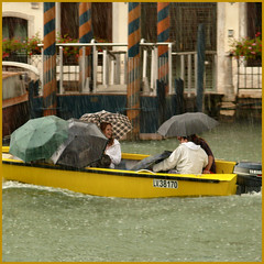 raining cats & dogs... (Frizztext) Tags: venice people italy rain umbrella square happy boat italia triptych existentialism galleries barbara rainy venezia rainfall eow twitter 10faves frizztext barbarafritze