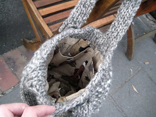 Inside knitted bag from Michelle