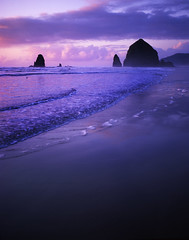 Once upon a time at the beach (Zeb Andrews) Tags: ocean sunset film beach oregon coast surf quiet purple pacificocean pacificnorthwest cannonbeach haystackrock pacificcoast fujivelvia pentax6x7 bluemooncamera zebandrews closeproximitytogoodeatsisalwaysabonus zebandrewsphotography
