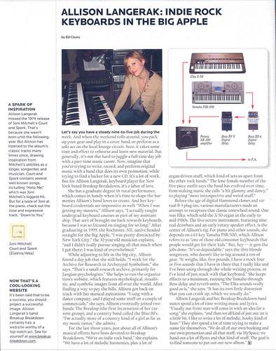 Keyboard Magazine Article