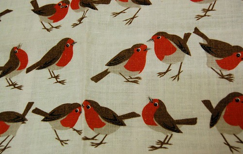 Thrifted - linen tea towel with robins