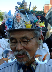 The Buddies on the Hat of Mr. Goldfish (Harajuku) (Namisan) Tags: hat japan funny goldfish grandpa harajuku funnyhat mrgoldfish