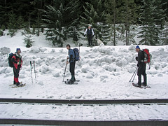 Matt, Justus, Tom, Jasper, and Steve ready to head up from the RR tracks.
